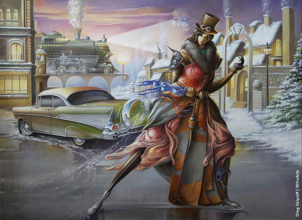 Chevrolet for Lucrecia Surrealism Paintings by Oleg Osipoff wooarts