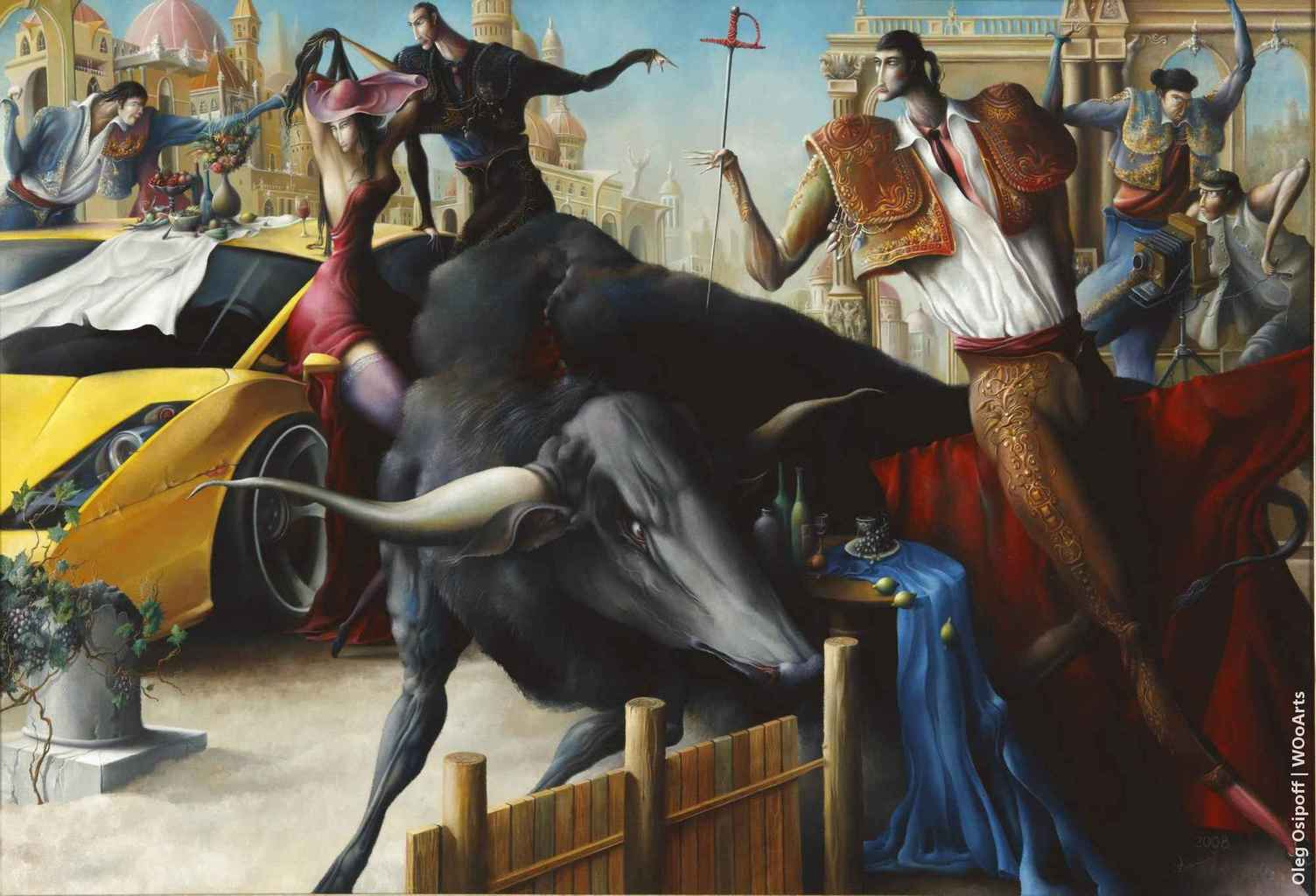 Event with bullfighting Surrealism Paintings by Oleg Osipoff wooarts