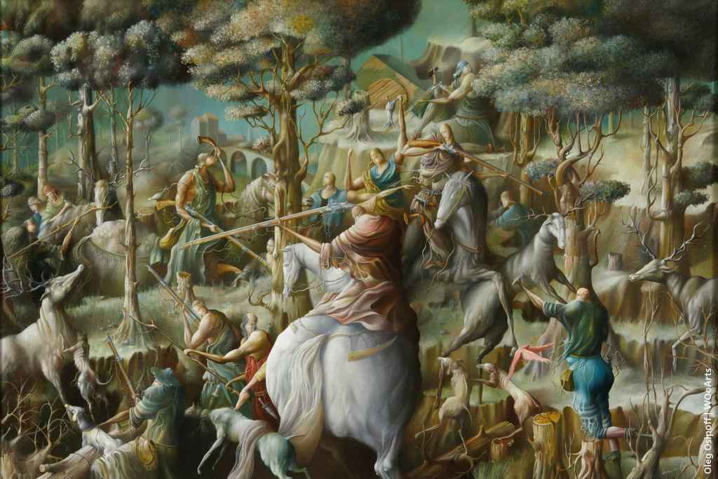 Fragment of a big hunting Surrealism Paintings by Oleg Osipoff wooarts