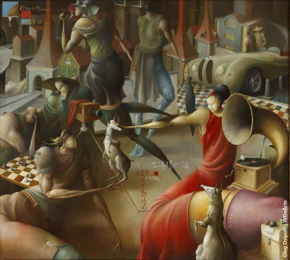 Japanese woman in red Surrealism Paintings by Oleg Osipoff wooarts