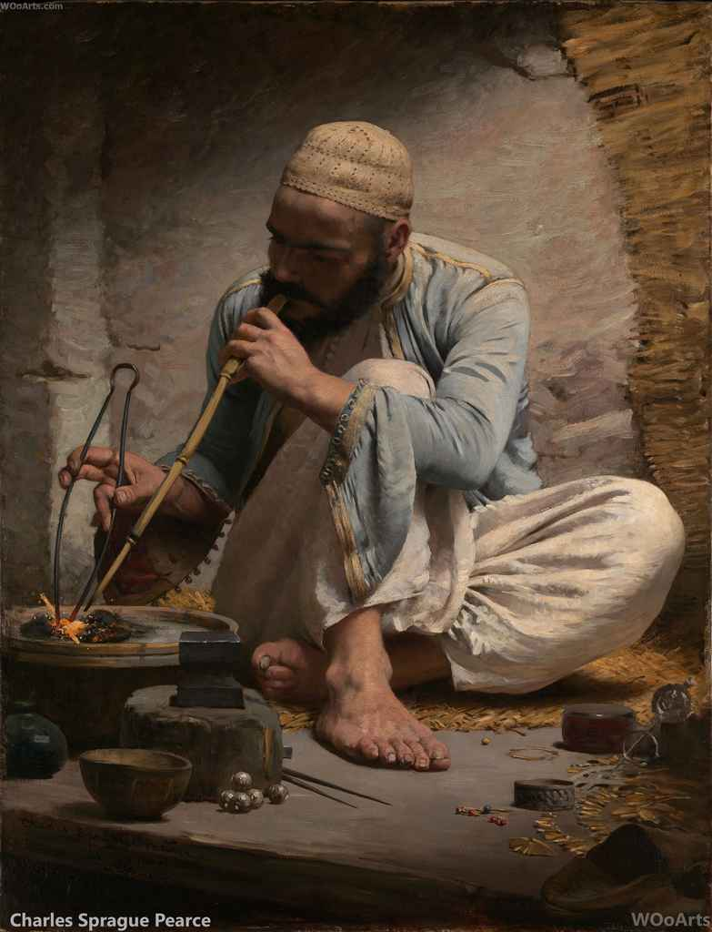The Arab Jeweler By American Artist Charles Sprague Pearce