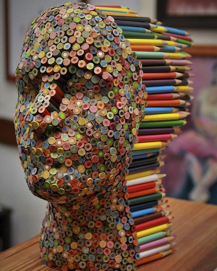 Colorful Pencil Sculpture By Molly Gambardella