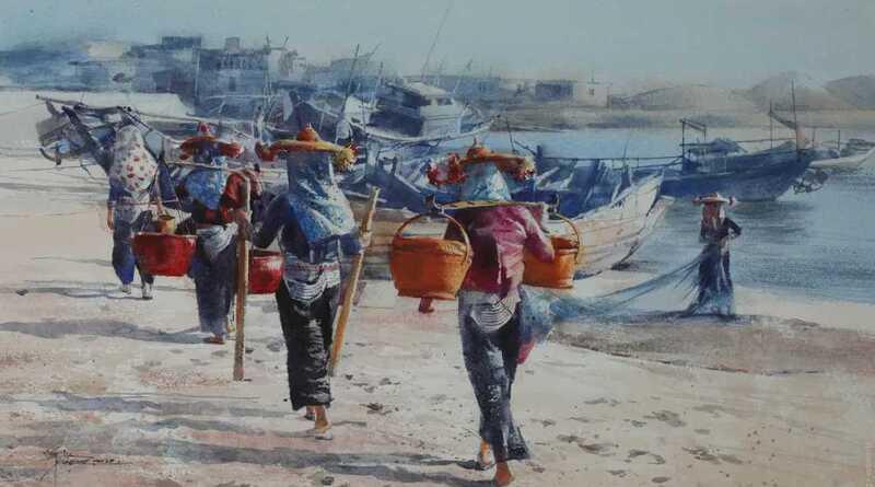 Chinese Artist Shan Hong Watercolor Painting
