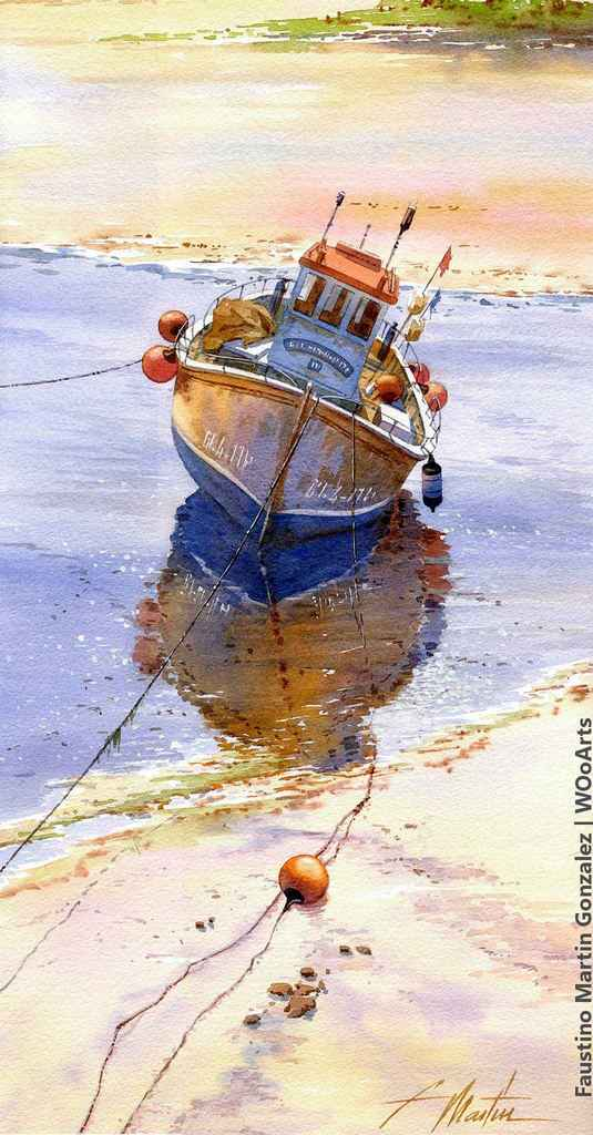 Watercolor Painting by Artist Faustino Martin Gonzalez Found on WOoArts.com